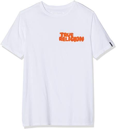 True Religion Herren Crew True Embro White T-Shirt, Weiß 1700, Medium (Herstellergröße: M)