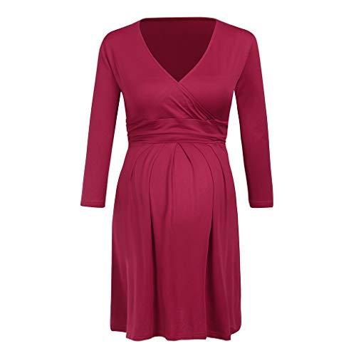 Formelle Kleidung Zu Cocktail-kleidern (SoonerQuicker Frauen Mutterschaft zugeschnittene Farbe 3/4 Ärmel V-Ausschnitt formelle Kleidung Schwangerschaft Kleidung Tunika Kleid Rot XL)
