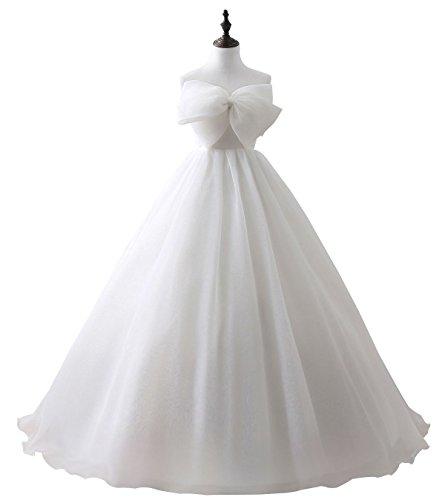 Beauty-Emily Maxi principessa Tulle Bow senza spalline Senza maniche senza schienale lace-Up sposa Quinceanera prima comunione abiti di nozze di colore bianco, formato EU38