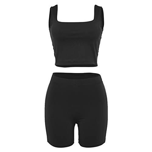 BDSGHAKE Reflektierende Fitness-Outfit Sport Anzug Frauen Crop + Shorts Jogging 2 Stück Set Fitness Workout Kleidung Black S - Calvin Falten Anzug