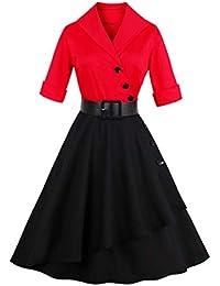 B-commerce Damen 50er Jahre Vintage Kleider - Frauen halbe Hülse Fester  Patchwork Knopf Cocktail Hepburn Stil… 41c1ae8340