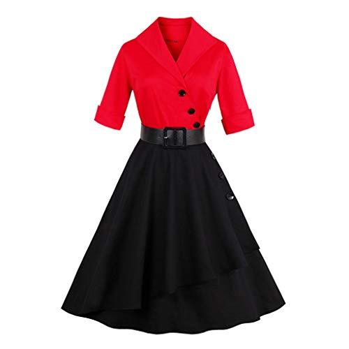 B-commerce Damen 50er Jahre Vintage Kleider - Frauen halbe Hülse Fester Patchwork Knopf Cocktail Hepburn Stil Rockabilly Partykleid mit Gürtel