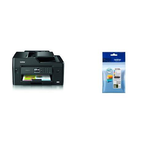 Brother mfcj6530dw stampante multifunzione inkjet, nero + lc-3219xlval cartuccia d'inchiostro, multicolore