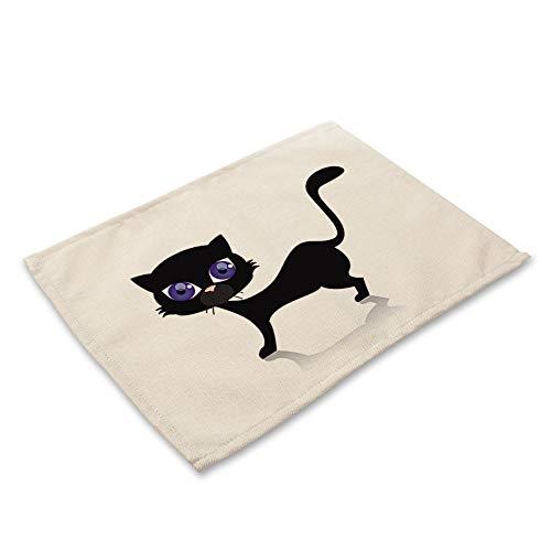 ZCHPDD Cartoon Tier Serie Baumwolle Leinen Kunst Isolierung Westlichen Mahlzeit Pad Nette Kleine Schwarze Katze Drucken E 42 * 32 cm * 6 Stücke