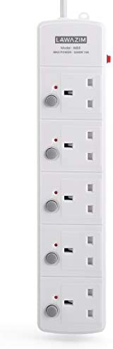 5-Socket Extension Cord with Individual on/off Switch - 3 Meters