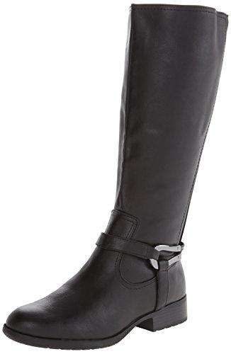 Life Stride Xena Breit Rund Kunstleder Mode-Knie hoch Stiefel Black