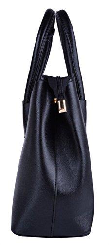 Coofit Damen Handtasche Stellen PU Leder Schulter Bag Kupplung Geldbörsen Tote 6 Stück Black