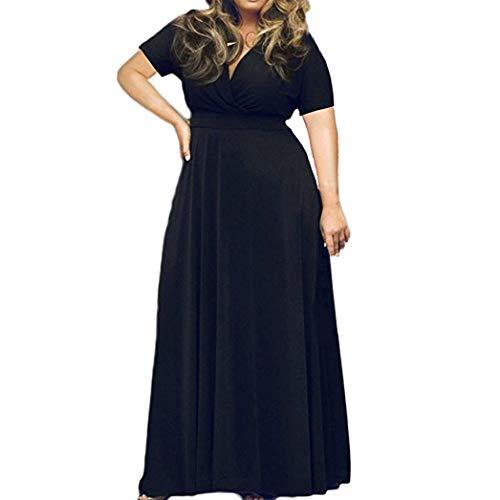 Angelof & Robe Longue Femme Chic pour Fillette Grande Taille Dame Pure Manches Courtes V Robe Profonde (XXXL, Noir)