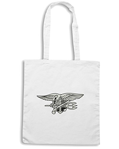 T-Shirtshock - Borsa Shopping TM0382 navy seal logo usa Bianco