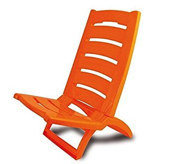 Spiaggina sedia pieghevole in plastica piscina spiaggia mare - arancio