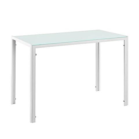 [en.casa] Table à manger avec plateau de table du verre blanc