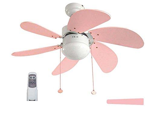 Pack Ventilador infantil de LED y Mando a distancia rosa/celeste.