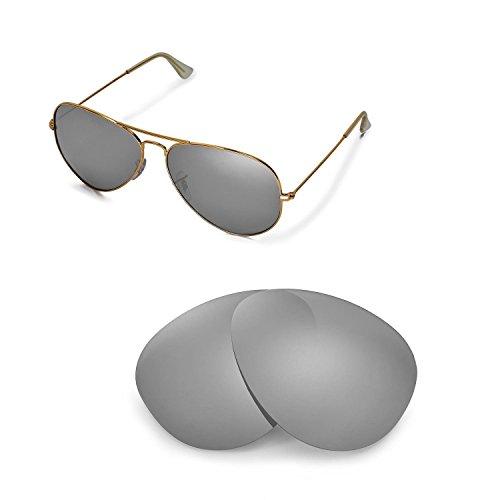Walleva Ersatzgläser für Ray-Ban Aviator Large Metal RB3025 62mm Sonnenbrille - Mehrfache Optionen (Titan Mirror Coated - Polarisiert)