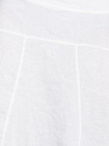 CASPAR RO013 knielanger Damen Sommer Rock aus Leinen Weiß