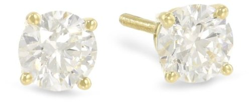 9e6bfb1f8 1/3 Carat Solitaire Diamond Stud Earrings 18K Yellow Gold Round Brilliant  Shape 4 Prong Screw Back (