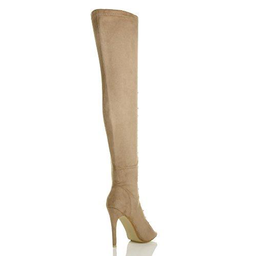 Donna tacco alto stringhe punta aperta sopra il ginocchio stivali coscia taglia Nude Suede