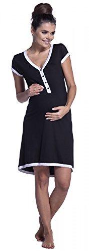 Zeta Ville - Damen Umstands Still-Nachthemd Kontrastdetails Knopfleiste - 981c Schwarz & Weiß