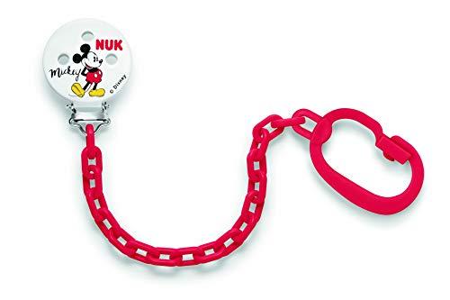 NUK 10256312 Disney Mickey Mouse Saugerkette, mit Clip zur sicheren Befestigung des Schnullers an Baby's Kleidung, 1 Stück, Farbe nicht frei wählbar - Schnuller Mickey Maus