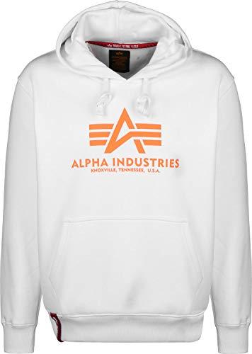 Alpha Industries Kapuzenpullover Basic orange braun rosa gelb schwarz weiß (L, White/Neon Orange) (Jacke Herren Winter Neon)