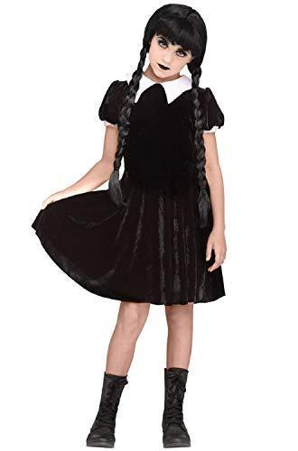 Fancy Me Mädchen Teen Schwarz Velour Unheimlich Goth Gothic Gruselig Tochter Addams Mittwoch Film Halloween Kostüm Kleid Outfit 7-14 Jahre - Schwarz, 7-9 Years