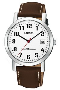 Lorus Watches Mens Brown Leather Strap White Dial Watch