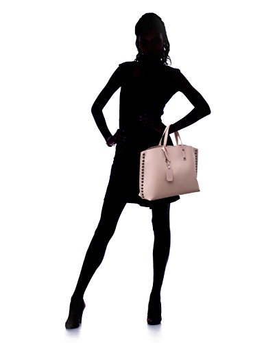 Almo - Borsa in pelle da donna made in Italy, a tracolla, a spalla con tracolla staccabile Rosa antico