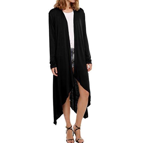 ZHANSANFM Damen Strickjacke Langarm Einfarbig Cardigan Beiläufige Lang Boho Strickmantel Asymmetrisch Leichte Outwear Mode Freizeit Elegant Strickpullover Loose Fit Mantel (XL, Schwarz)