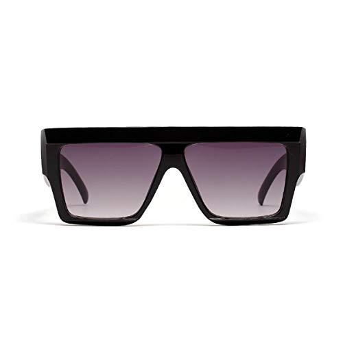 Gafas de sol deportivas, gafas de sol vintage, Square Oversized Sunglasses Women Flat Top Clear Blue Pink Sun Glasses Men Vintage Big Frame Square Eyewear UV400 Black