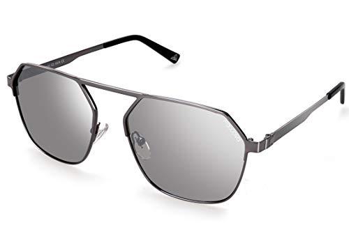 fawova 2019 Eckiege Sonnenbrille Herren Polariserte mit Verspeiglt Silberne, Independent Designer Hexgonal Sonnenbrille Herren Gespiegete, UV400, Cat.3, 56mm(Grau, Silber)
