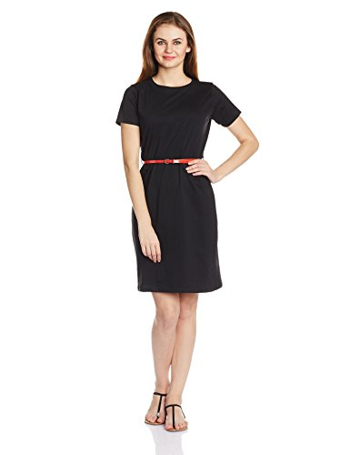Miss Chase Women's Belted Casual Shift Dress (MCPF13D01-08-62_Black_Small)