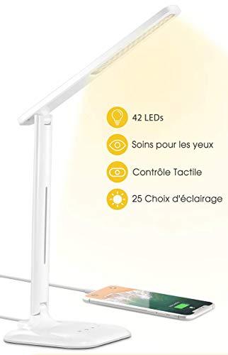 Lampe de Bureau LED, VicTsing Lampe de Table Enfant 42 LED avec 1 Port Charge USB, 5 Mode Couleur et 5 Niveaux Luminosité Ajustable, 450LM Soin des Yeux, Contrôle Tactile pour Etude,Travail, Blanc