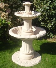 stone garden water fountain,4ft 3in small 2 tiered fountain self contained outdoor ornate garden water feature