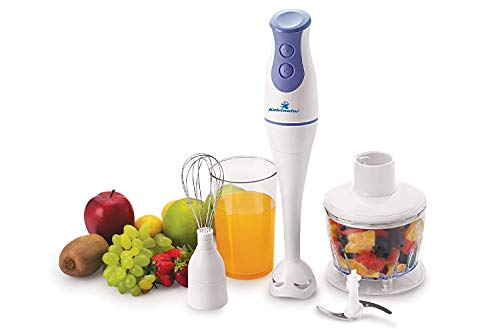 Kelvinator KHB-2012 200-Watt 2 Speed 3-in-1 Hand Blender with Blending Jar, Chopping, Whisking Attachment,White