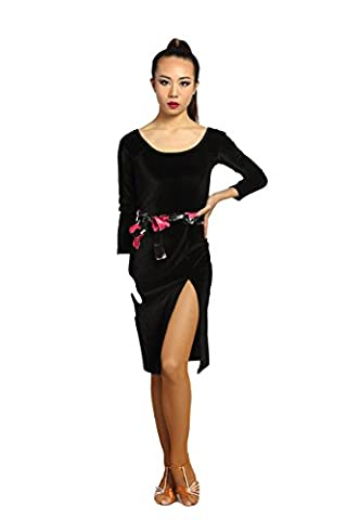 G3005 latin dance skirt with the front side split ends provided by GloriaDance (black(velvet), large)