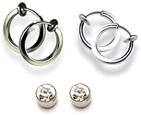 Chandrika Pearls Gems & Jewellers silver and black colour Clip On & Magnetic 3 Earrings Combo For Non-Pierced Earrings for women and girls