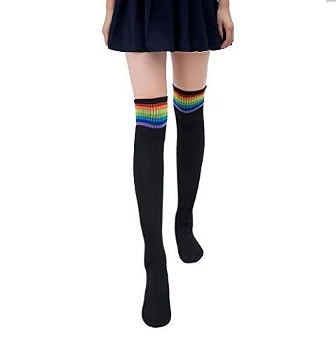 iHee Women Girl's Over Knee Knit Crochet Thigh High Stockings Socks Sports Tights (Black)