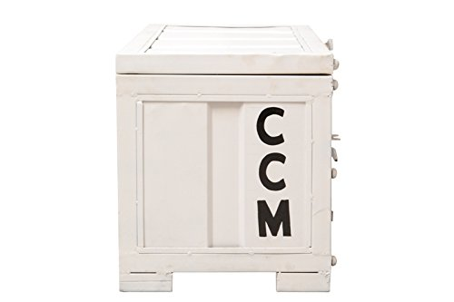 The Wood Times Truhe Couchtisch Weiß Metall Vintage Look, Aufbewahrungsbox mit Deckel, Container Maße LxBxH 91x41x46 cm -