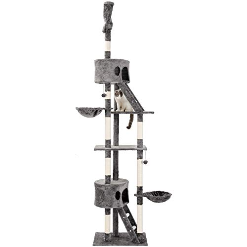 Pure Love ® Kratzbaum XXL Sisal Robuster Kletterbaum Katzennapf mit großem Spielplatz Höhe 240-270 cm (Grau)