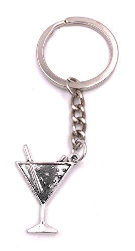 H-Customs Cocktail glass keyring pendant silver metal