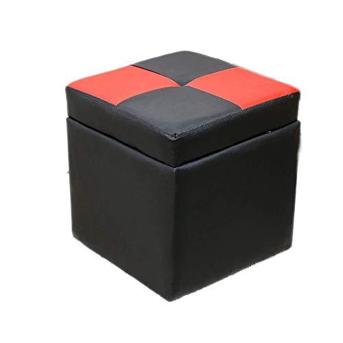 Minyine Freizeit PU Leder Aufbewahrungshocker, Cube Fußstütze Hocker Gepolsterter Sitz Lagerung Fußstütze Osmanischer Fußstützenhocker Für Heimreisen Zuhause (Farbe : A, Größe : 30x30x32cm(12x12x13))