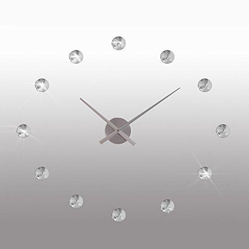 DESIGN WANDUHR KRISTALL Ø 50 cm von XTRADEFACTORY Uhr Wanddeko Zeit Strass silber