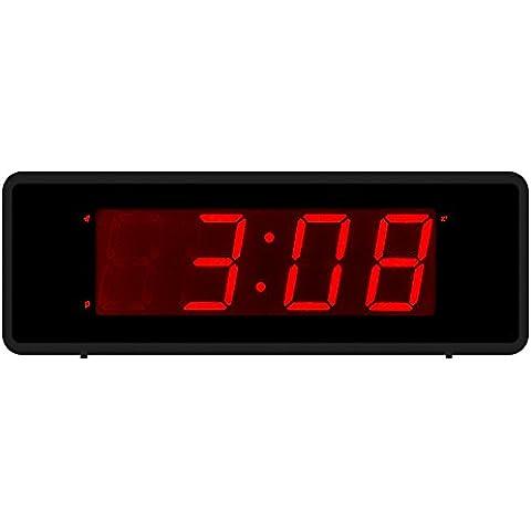 Kwanwa LED Digital Alarm Clock Con grande 1.4 '' LED rosso Visualizzazione dei numeri e della batteria in funzione solo, può essere posizionato ovunque senza ingombranti Chords (versione 2)
