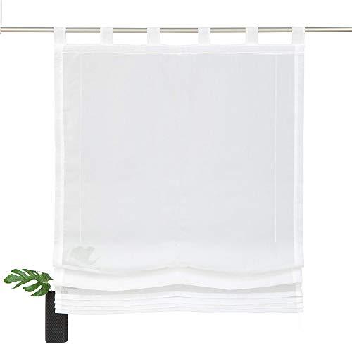 NECOHOME Voile Schalufen Raffrollo 1er Pack Halb Transparente Weiß Falten Vorhang Baumwolle Tüll Fesnster Deko Gardinen (Cream, 100x140cm)