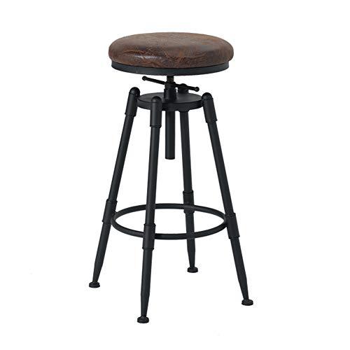 MIAE Barhocker, runde Retro-Barhocker, mit Fußstütze Küchen-Frühstückshocker, höhenverstellbare Barstühle, Außenmaterial aus Kunstleder, 360 ° drehbarer Designer-Hocker