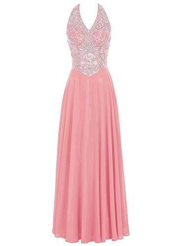 Bbonlinedress Damen Chiffon A-Line mit Pailletten Party Halter Formal Abendkleid Koralle
