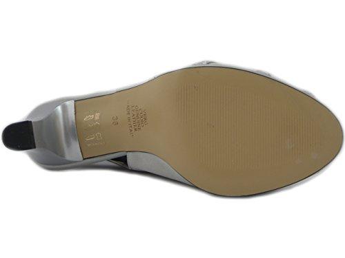 Osvaldo Pericoli Sandale Élégante En Tissu Satiné Argent, Talon De 6cm. Et Plateau- 7793 E17 Argent