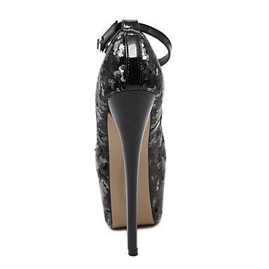 Moda Donna Sandali Sexy donna tacchi paillettes glitter Peep toe Platform Stiletto Heel/pompe 6,5 pollici tacco cinturino alla caviglia scarpe sexy Silver
