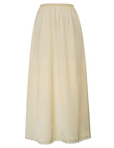 Kate Kasin High Stretchy Taille Unterrock Full Slip Mit Spitzensaum Champagner (Maxi) M -