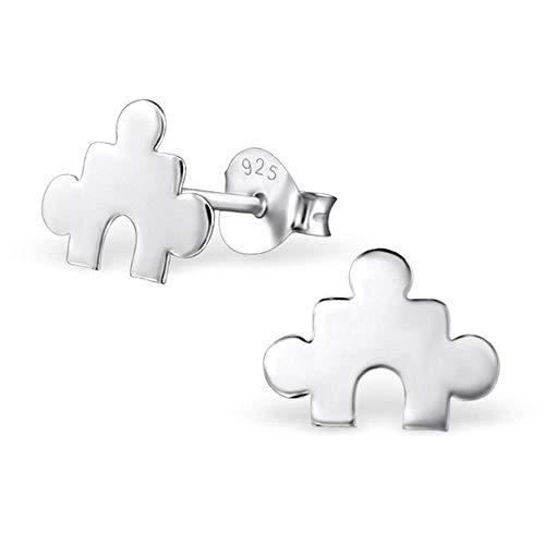 So Chic Joyas© pendientes niño Puzzle pieza blanco plata 925