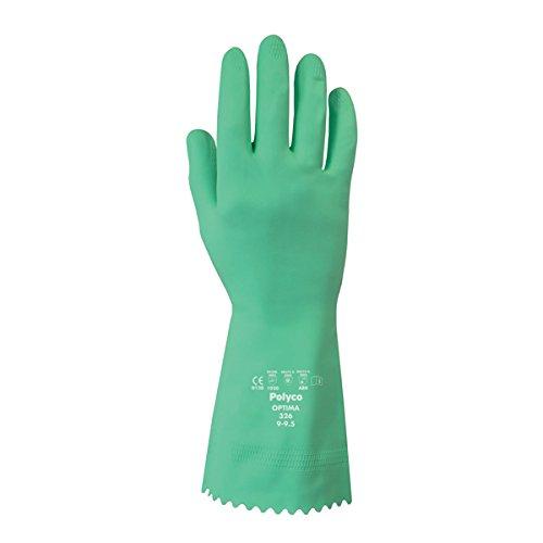 Polyco 327Optima chemikalienbeständig Flock Gefüttert Handschuhe, 1Paar, Gr. 10/X-Large, Grün